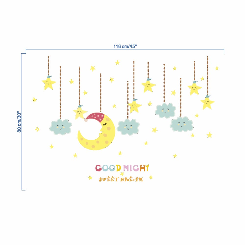 Hangintg Moon Stars Wall Stickers Goodnight For Kids Room Living Room Home Decoration in Wall Stickers from Home Garden