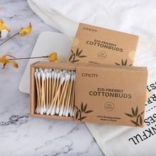 200 pz/scatola Doppia Testa Tampone di Cotone di Bambù Tamponi di Cotone di Legno Spiedi Usa E Getta Boccioli di Cotone Per Il Trucco di Bellezza Naso Orecchie di Pulizia