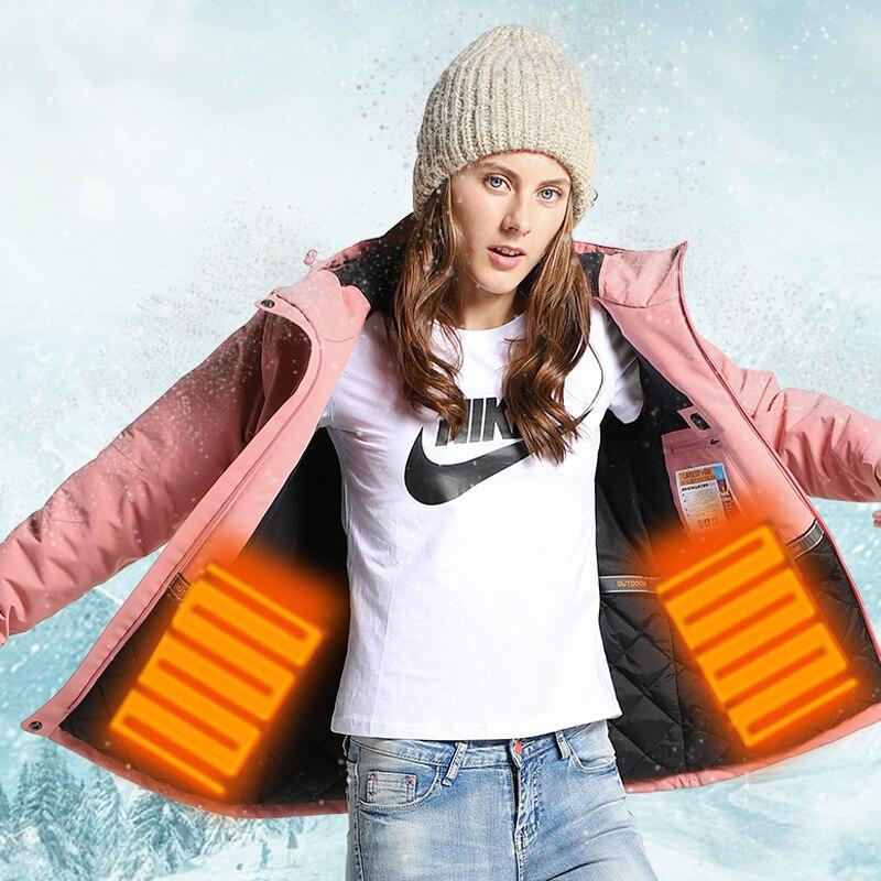 Femmes USB chauffé veste de randonnée hommes en plein air hiver chaud pardessus Camping Trekking coupe-vent Ski imperméable vestes manteaux