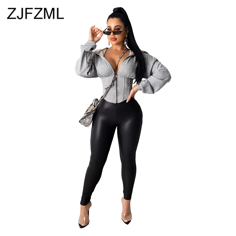 Autumn Winter Front Zipper Sexy Slim Fit Coat Women Hooeded Collar Long Sleeve Asymmetrical Short Coat Casual Gray Bandage Coat