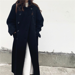 Alien Kitty Retro Thick Blends Women Coats Double Breasted Winter Vintage Elegant Loose Solid Female Chic Casual Long Clothe