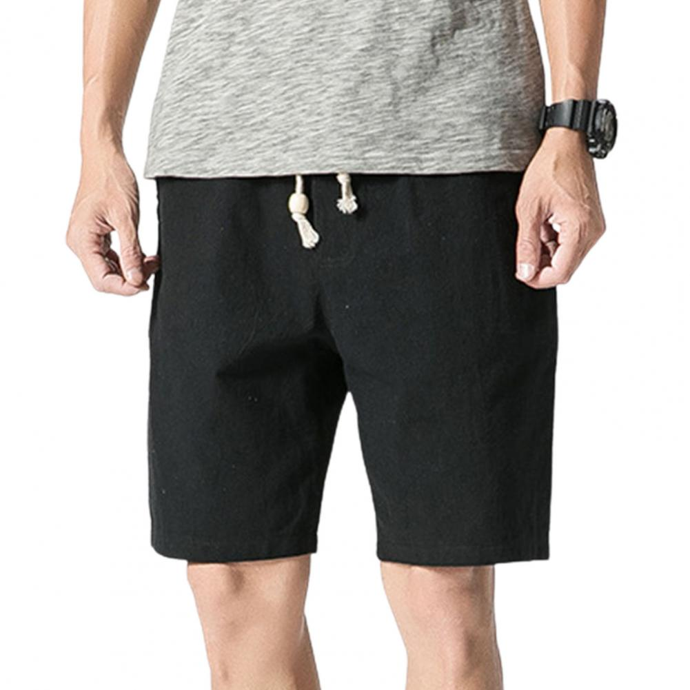 Men Beach Shorts Plus Size Casual Solid Color Drawstring Summer Loose Mid Rise Pockets Sweatpants Fitness Board Shorts 2