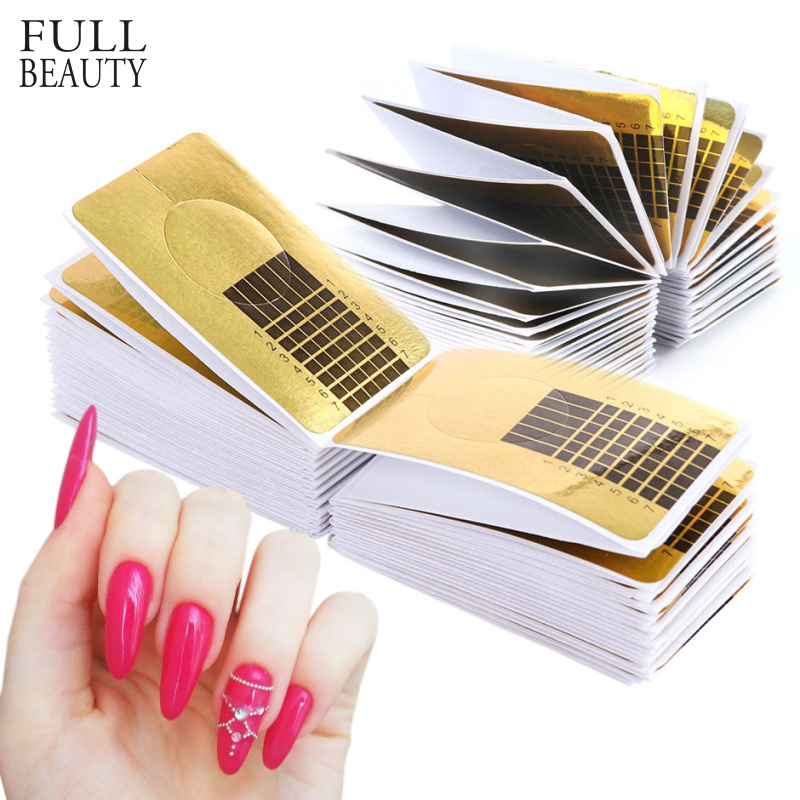 100pcs Rectangle Shape Finger Extension Nail Forms UV Gel French Builder Stencils Nail Polish Guide Paper For Manicure CHNJ070