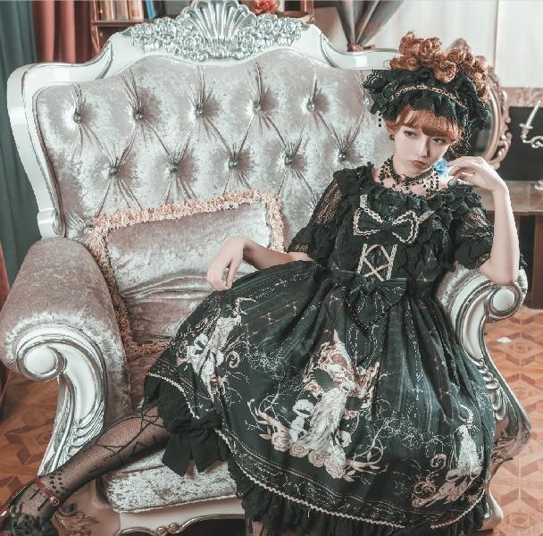 Купить готическое платье лолиты винтажное кружевное с бантом каваи