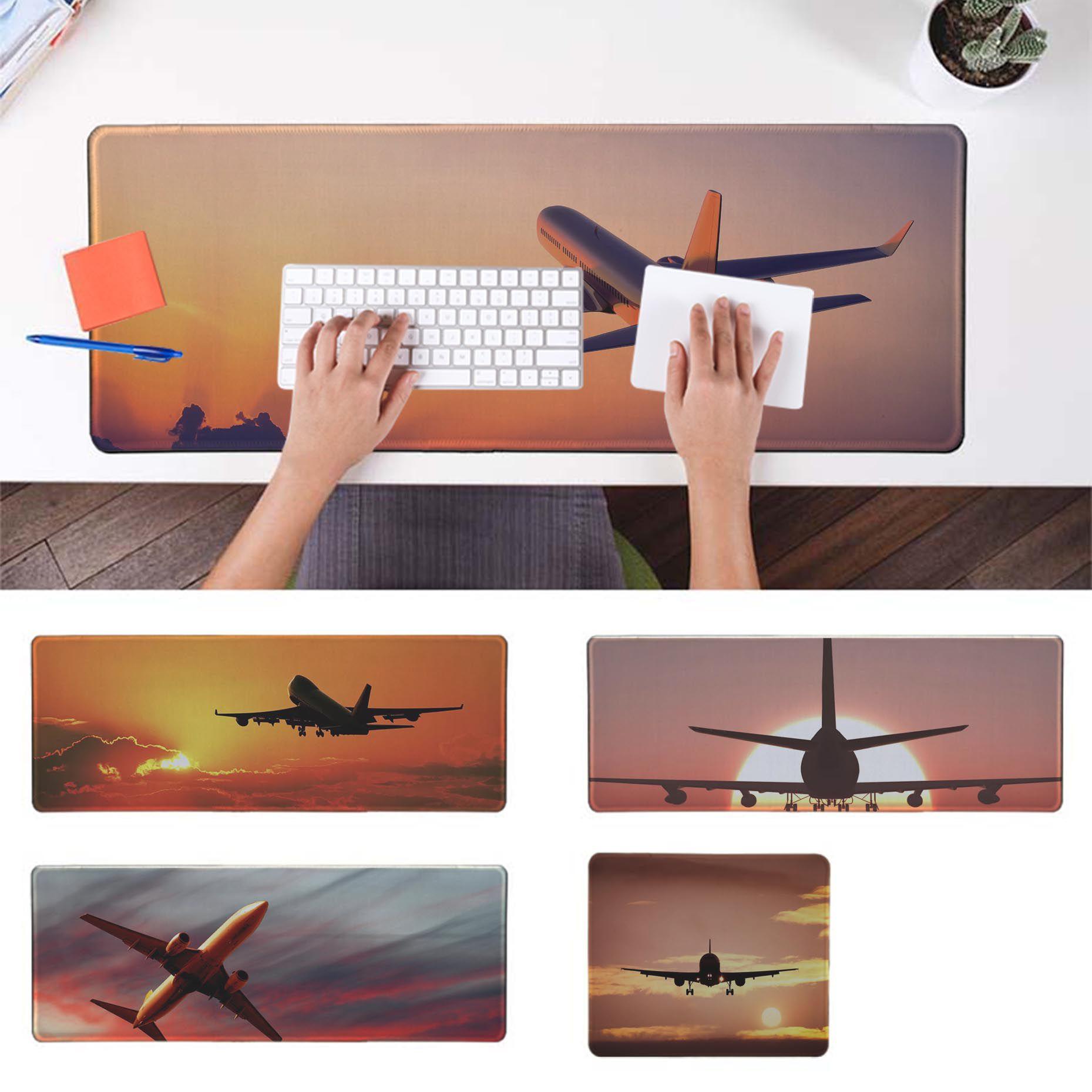 Maiya 2019 New Plane Airplane Flying At Sunset Natural Rubber Gaming Mousepad Desk Mat Rubber PC Computer Gaming Mousepad