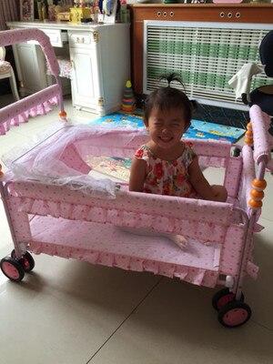 Berceau berceau bébé berceau avec roues main néonatale pousser pliant Portable nouveau-né bébé berceau filet ensemble lit Mobile bébé lit bébé 0 ~ 12 - 5