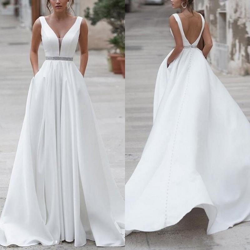 2019 Satin Wedding Dresses A Line Simple Sweep Train V Neck Plus Size Bridal Dress With Pocket