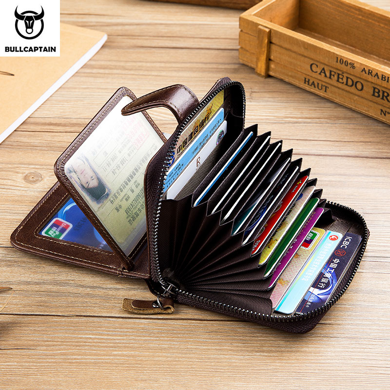 BULLCAPTAIN Men's  Leather Wallet Business Wallets Multifunction Multifunctional Business Card Holder Small Card Box