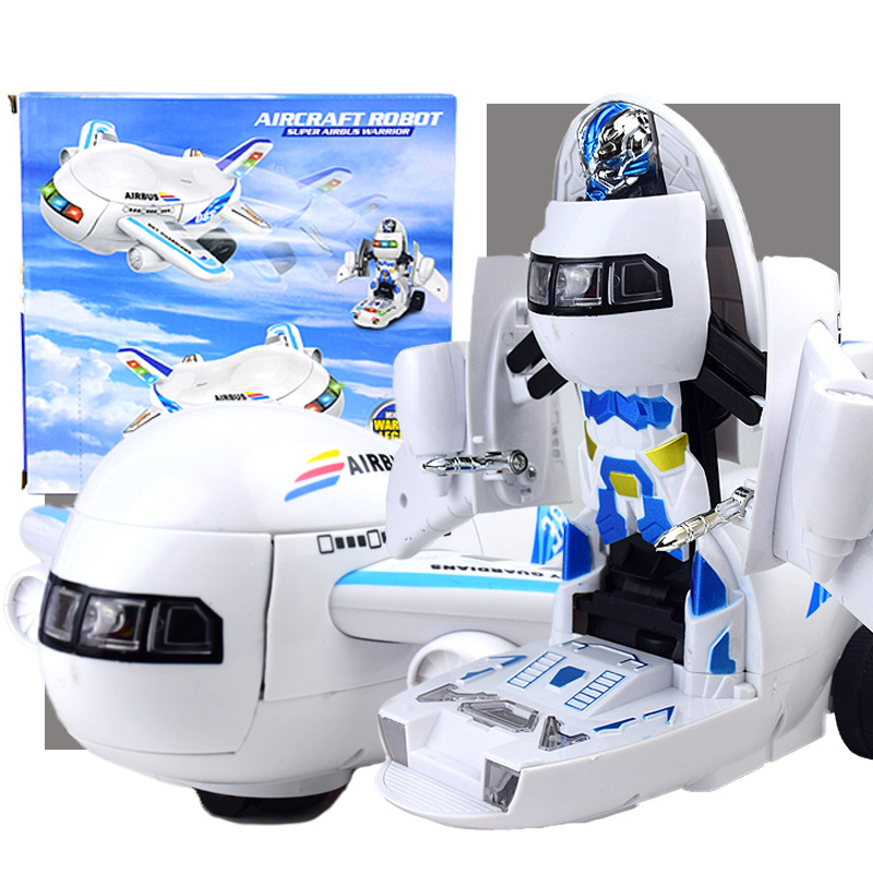 Electric Transformation Airplane Robot Children Universal Educational Toy Car With Light And Music Stall Night Market Hot Sellin