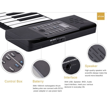Portable 88 Keys Electronic Roll Up Piano Flexible Silicone Hand Roll Keyboards,Us Plug