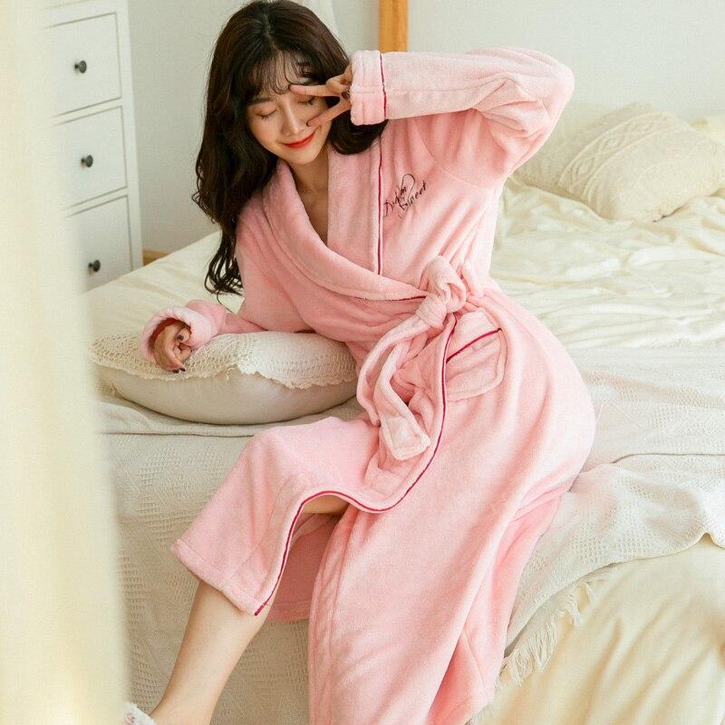 Explosion Warm Flannel Robe 2019 Winter Floral Robe Thicken Nightgowns Bathrobe Women Pajamas Bath Flannel Robe Sleepwear Womens