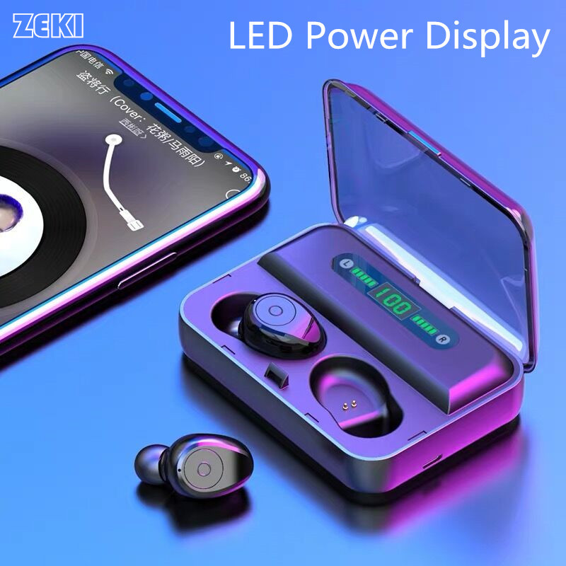 ZEKI LED Power Display True Wireless Earbuds TWS 5.0  auriculares bluetooth inalambrico Portable Sport Headeset with Bank