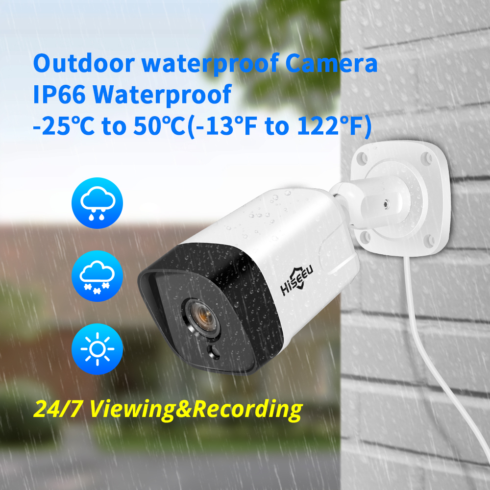 Hiseeu 8CH 1080P POE NVR CCTV Security System Kit H.265 2.0MP Audio Record IP Camera Waterproof Outdoor Video Surveillance Set
