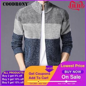Image 1 - COODRONY Cashmere Wool Sweater Coat With Cotton Liner Zipper Coats Sweater Men Clothes 2018 Winter Thick Warm Cardigan Men H003