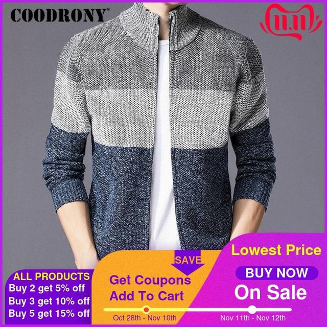 COODRONY Cashmere Wool Sweater Coat With Cotton Liner Zipper Coats Sweater Men Clothes 2018 Winter Thick Warm Cardigan Men H003