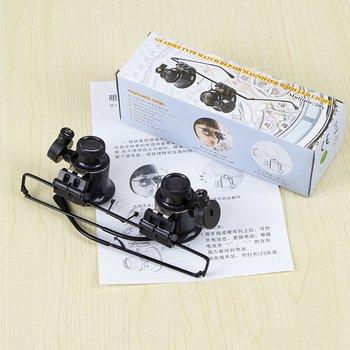 цена на Led Double Eye Repair Magnifier Glasses Mini Loupe Lens Magnifying Glas With Led Light Watch Jeweler Microscope