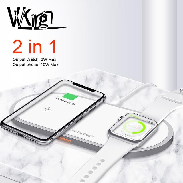 Cargador inalámbrico magnético 2 en 1 para Apple Watch, cargador de carga rápida para iPhone 8, X, Xs, Max, Samsung S9, 5/4/3/2/1