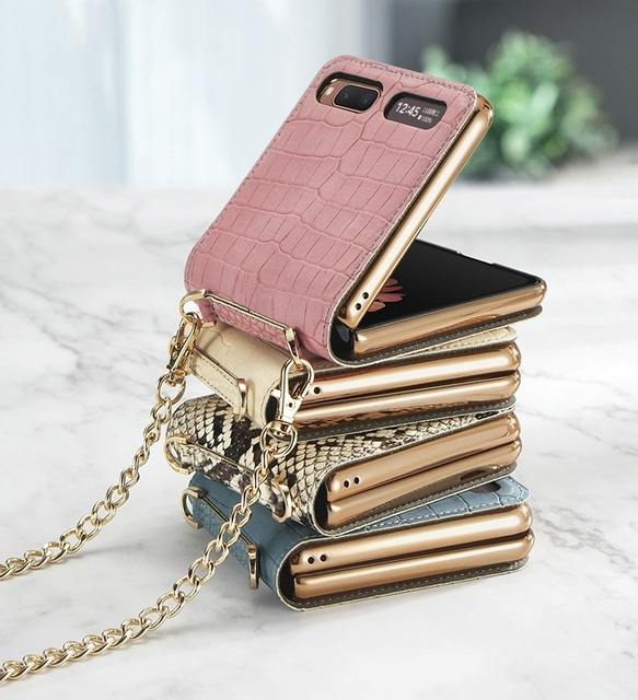 Luxury Mirror Case for Samsung Z Flip 5G Cover Makeups Bag Phone Case with Chain Strap Shockproof Shell for Galaxy Z Flip Case 6