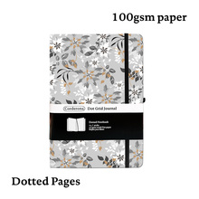 A5 Dotted Bullet Notebook Dot Grid Journal Grey Flowers Hard Cover Elastic Band