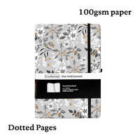 Grey Flowers Bullet Journal A5 Dot Grid Hard Cover Notebook Elastic Band Travel Planner Dotted Diary Bujo