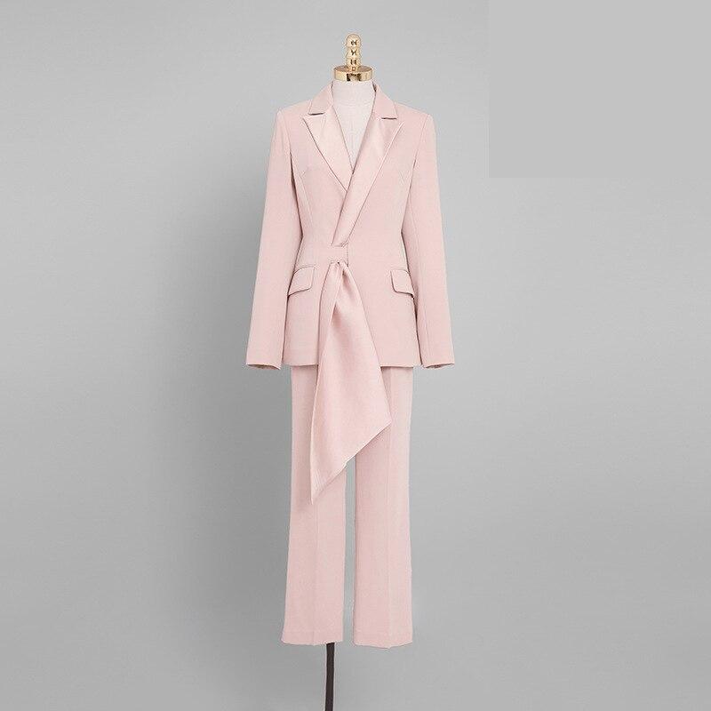 Suit women autumn new women's fashion temperament casual two-piece pink suit jacket nine pants professional party dress suit 18