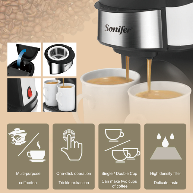 Drip Coffee Maker Kitchen Removable And Washable Household Coffee Machine Tea Coffee Pot Milk Coffee Maker For Gift 220V Sonifer 2