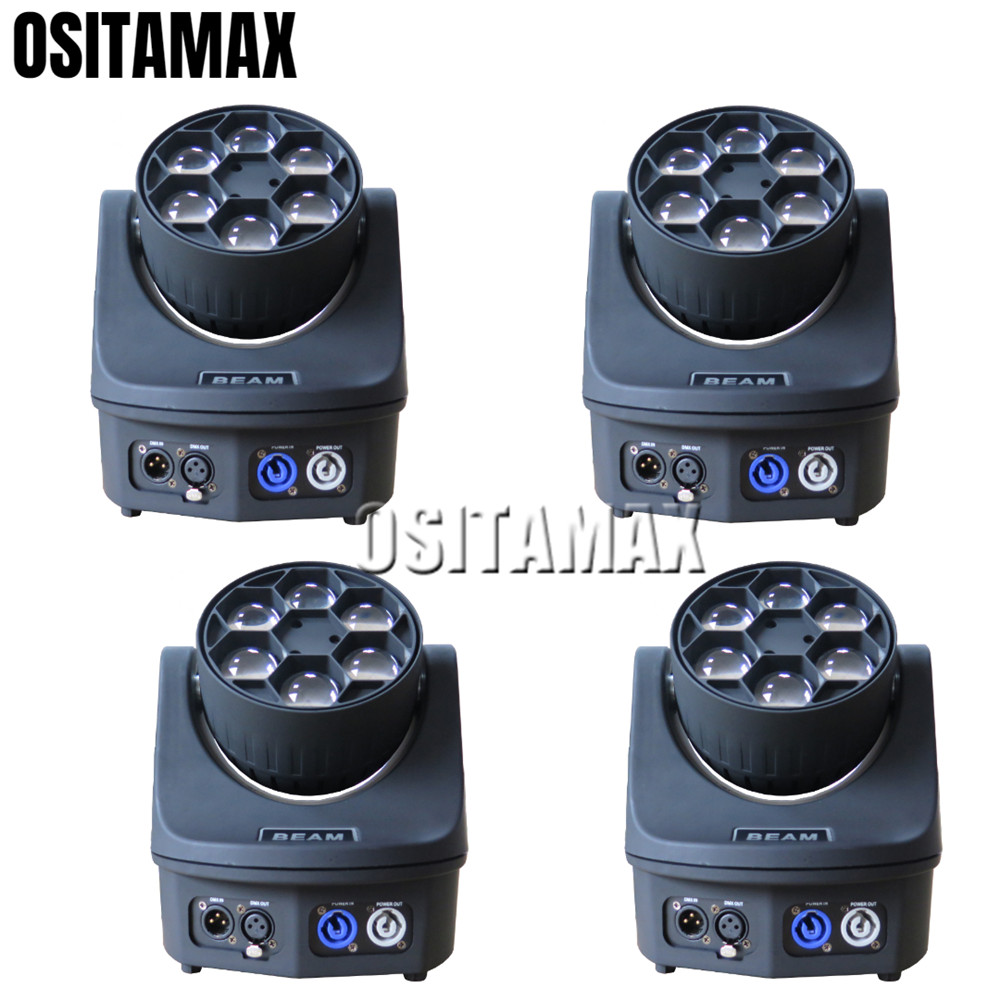 4PCS DMX512 LED Beam Mini Moving Head Stage Light Bee Eye 6X15W RGBW 4IN1 Rotation Lens LED Disco Christmas Party Lights