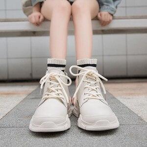 Image 2 - Giày Nữ Giày Nữ Người Phụ Nữ Zapatillas Mujer Cổ Mùa Đông Giày Boot Nữ Cao Cấp Hàng Đầu Bông Ấm Áp Giày Ngoài Trời Zapatos De Mujer Ren P