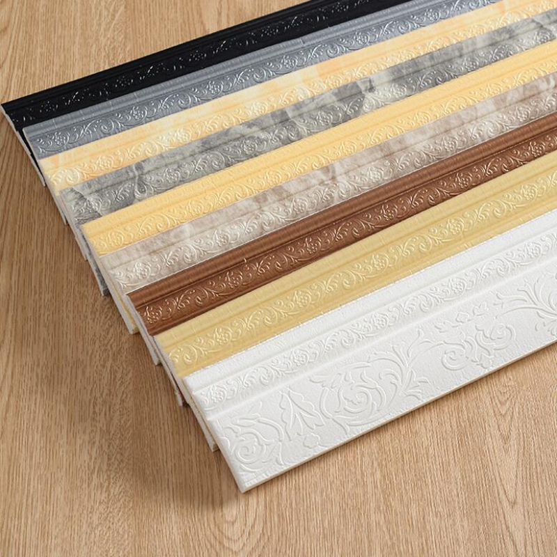 Waterproof Self-adhesive Foam Baseboard Wall Sticker 3D Embossed Waistline Floor Corner Line Skirting Board Stickers Wallpaper