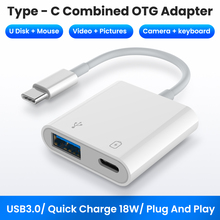2 In 1 Type C OTG Adapter 18W DP QC Fast Charge Cable Converter Type C To USB3.0/USB C Charging Splitter For Xiaomi 10 Huawei