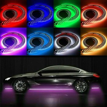 4pcs Car LED Light Strips Waterproof RGB Under Car Tube Glow Underglow Underbody System Neon Kit Car Accessories image