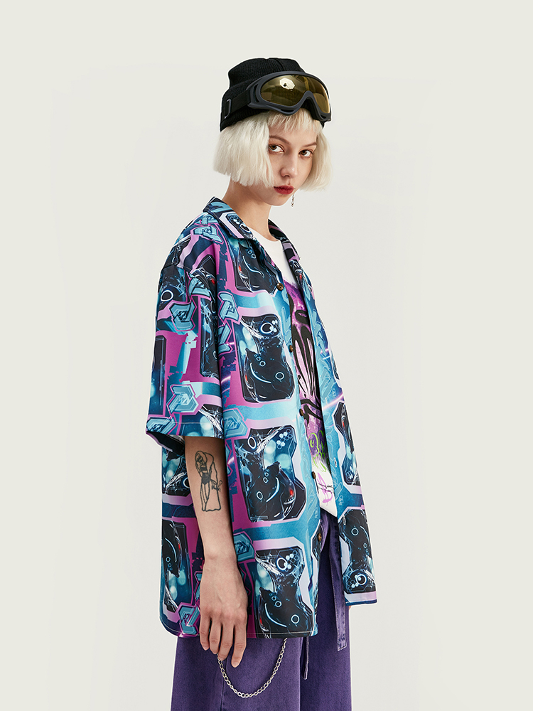 INFLATION Men Shirt Short-Sleeve Digital-Printing Camisa P Summer 2039S20 Masculina
