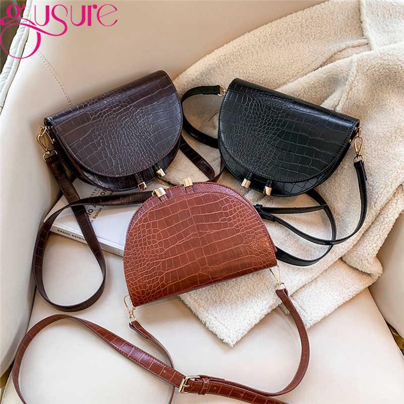 Gusure bolsa transversal, padrão de crocodilo, para mulheres, metade redonda, bolsa de mensageiro, de couro pu, bolsa de ombro