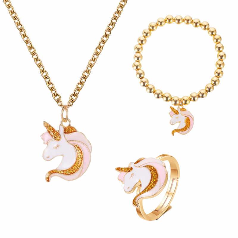 3 יח'\סט שרשרת טבעת קריקטורה Unicorn שרשרת עגיל תכשיטי ורוד בנות מתנת תכשיטי תכשיטי צמיד ושרשרת סט