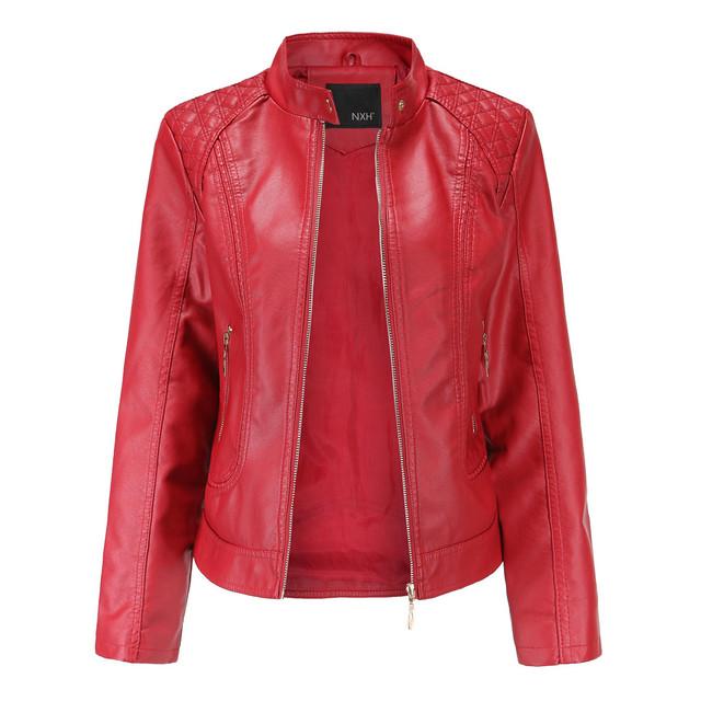 women's leather jacket куртка кожаная женская Winter Warm Women Short Coat Leather Jacket Parka Zipper Tops Overcoat Outwear #3