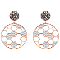 SWA RO 2019 Autumn LINOSA Honeycomb Pierced Earrings Women's Original Jewelry Anniversary Gift Free Shipping 5387766