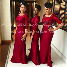 Bridesmaid Dresses Scoop-Neck Wedding Lace Long Women Red Formal Appliques Half Beads