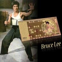 WR 2019 gorący nowy kolorowy banknot hurtownia Bruce Lee 100 złota folia banknot dla wartości kolekcja prezent dla kolekcji hobby