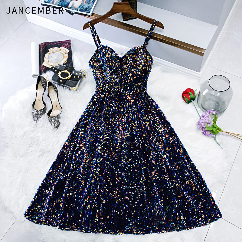 WLN18497 JANCEMBER 2019 Cocktail Dress Party Sleeveless Spaghetti Straps Sweetheart Neck Sequined Party Gown Vestido Festa New