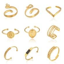 Schlange Ring Edelstahl Ringe frauen Ringe Gold Silber Farbe Geometrie Ring Punk Open Finger Ringe Für Frauen Schmuck geschenk