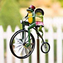 2021 novo estilo de bicicleta do vintage vento spinner metal estaca sapo equitação motocicleta moinho vento decoração para quintal e jardim decoração