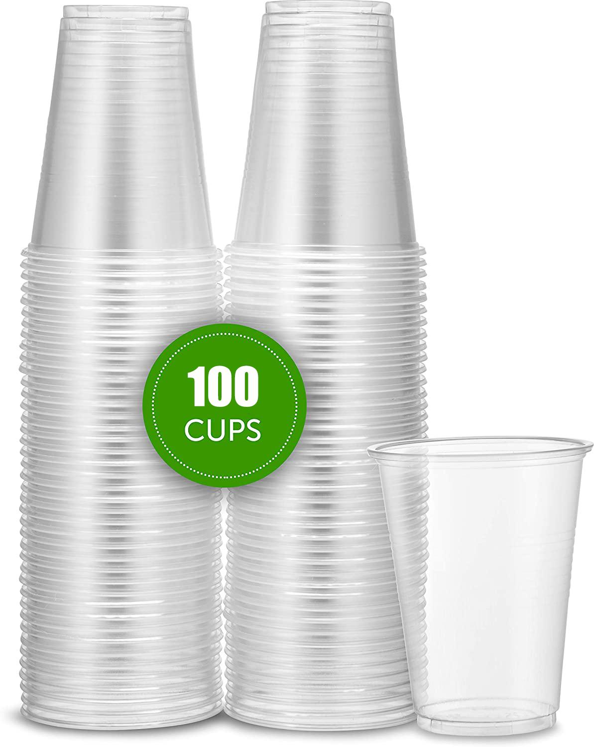 9 Oz Plastic Disposable Clear Durable Drinking Cups(100 Count), Clear Disposable Plastic Tea Cup Coffee Cups