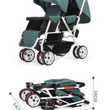 Двойная детская коляска, складная двойная коляска, может сидеть лежа, легкая переносная детская коляска для новорожденных, детская коляска,...