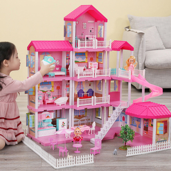 New DIY Doll House Girls Pretend Toy Handmade Castle Dollhouse Birthday Gifts Educational Toys Villa For Girl Toys For Children