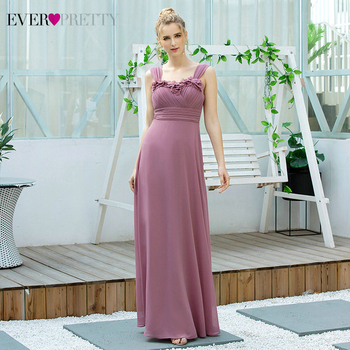 Dusty Pink Bridesmaid Dresses Ever Pretty EP00625 Women A-line Long Chiffon Mariage Vestidos Elegant Wedding Guest Party Dresses