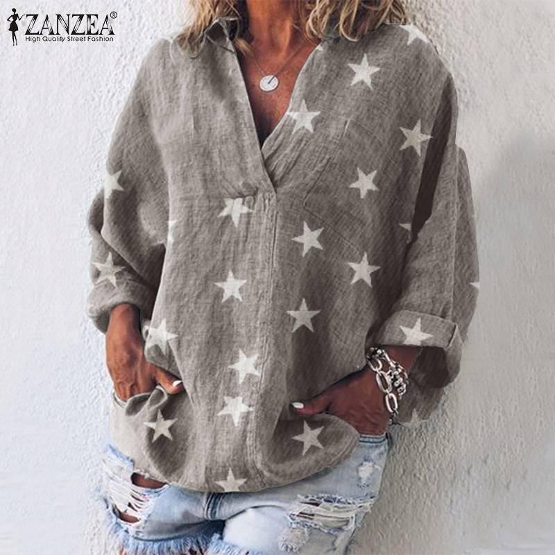 Tops Blusas ZANZEA 2019 Autumn Women Blouses Shirts Cotton Star Print Tunic Blusas Casual Long Sleeve Chemiser Mujer Plus Size