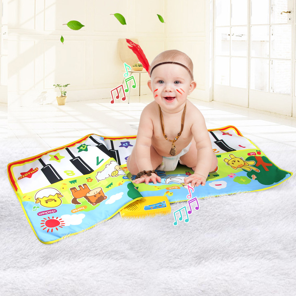 135X58CM Baby Musical Mat Large Size Animal Theme Educational Learning Toys Children Baby Toy Infant Playing Type Music Mat Gift(China)