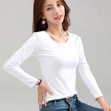 MRMT 2020 Brand New Women's T-shirt Slim Cotton 100% Women T-shirt Long-sleeved for Female Thin White Pure Tops Woman T shirt