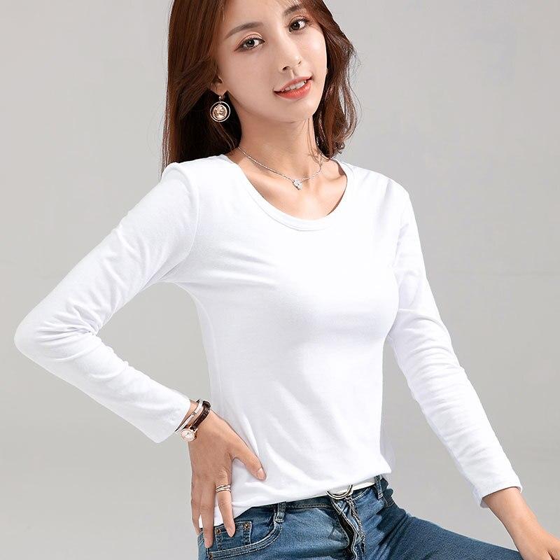 Mrmt 2021 marca nova camiseta feminina de algodão fino 100% camiseta feminina de mangas compridas para feminino fino branco puro topos mulher t camisa