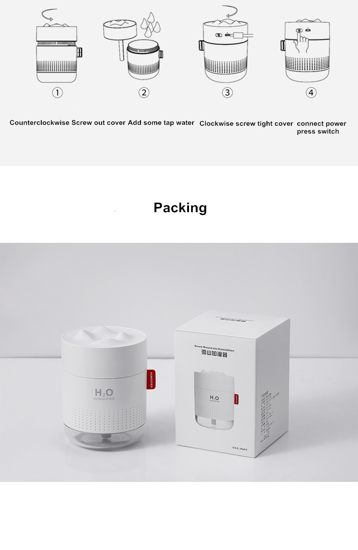 H102426ea063649b4ad5d770873968de2g - Portable Ultrasonic Humidifier 500ML Snow Mountain H2O USB Aroma Air Diffuser With Romantic Night Lamp Humidificador Difusor